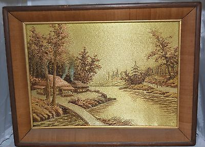 Vintage Framed Needlepoint, Asian Landscape, Unique and Beautiful!