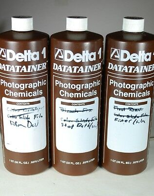 Lot of 3 Delta Datatainers Photo Darkroom Chemical 32 Oz. Graduated Plastic Jugs