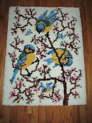"""Shillcraft Completed Springtime Bluebirds 27 x 36"""" Latch Hook Rug Wall Hanging"""