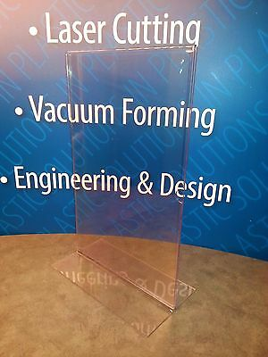 LOT OF 6 Clear Acrylic 11 x 17 Plastic Display Stand Up Paper Sign Holder
