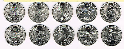2015 P&d Atb National Park Quarter Collection - All 10 Coins - Uncirculated