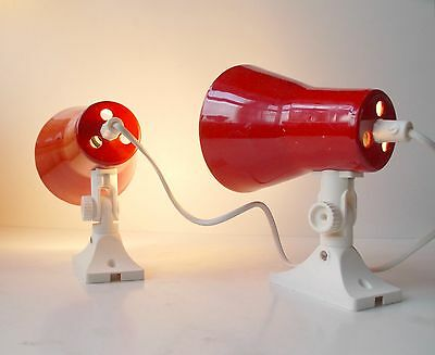 Pair of Red 1970s Danish Sconces Wall Lamps Space Age retro Lyfa Bent Karlby era