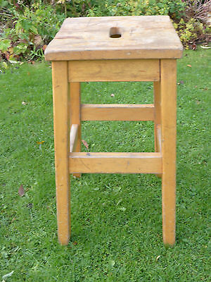 Vintage beech lab stools with oblong top. Strong + sturdy.