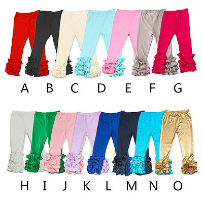 Baby Infant Girls Leggings Toddlers Kids Icing Ruffle Cotton Long Pants Trousers