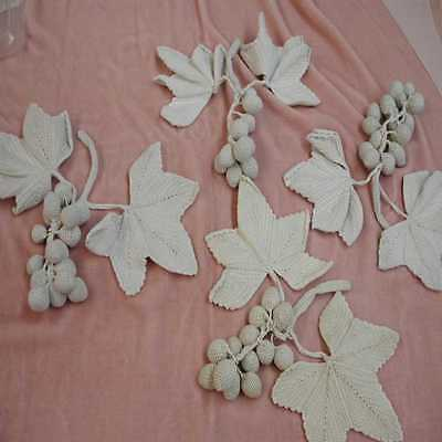 Lot of Grape/Leaves Antique Hand Crocheted Motifs; (See Specs Below)