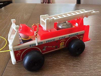 Vintage Fisher-Price Fire Engine 710 Pull Toy