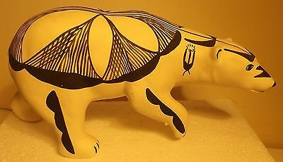"Native American ACOMA Pottery Bear signed M. Chino with bear claw print 10"" long"