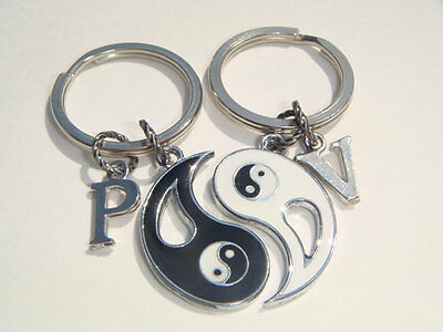Ying Yang Personalised Keyrings Best Friends His Hers Couples Keychains Set