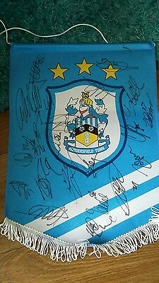 huddersfield town pennant signed by team at ipswich  and game ticket