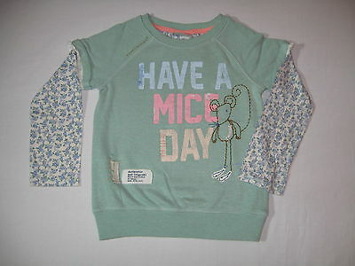 BNWT NEXT Girls Mint/Teal Ditsy Mouse Sweater Jumper Top  5-6 Years