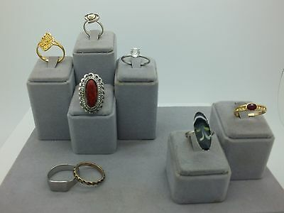 Assorted Fashion 3 Adjustable Costume Rings 8 Pc Lot (5) Size 9-1/2 To 12