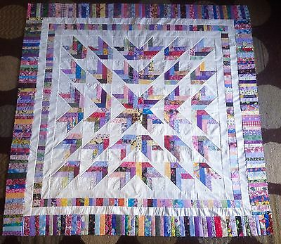 Scrappy French Braid Quilt Top  made in USA 100% Cotton Fabrics