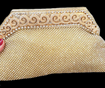 New Gold Stunning Irridescent Austrian Crystal Lace Hard Shell Clutch Bag