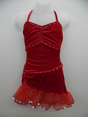 Dance Costume S & M Adult Red Velvet Salsa Dress Jazz Solo Competition Pageant
