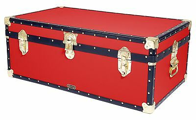 "RED Traditional British Mossman Made 36"" Steamer Boarding School Luggage Trunk"