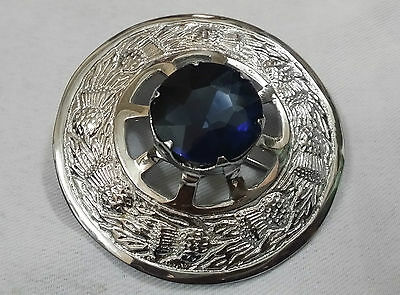 New Highland Kilt Fly Plaid Brooch Blue Stone Chrome Finish/Scottish Brooches 3""
