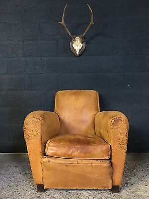 Vintage Antique French Leather Tan Brown Club Chair