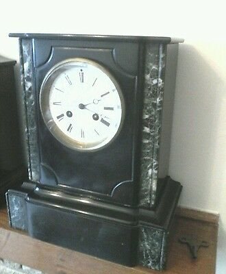 Antique slate and marble clock in excellent working c circa 1860 made by DC.