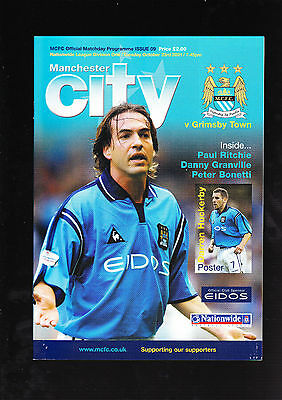 Manchester City Vs. Grimsby Town Football Programme 23 October 2001 Division One
