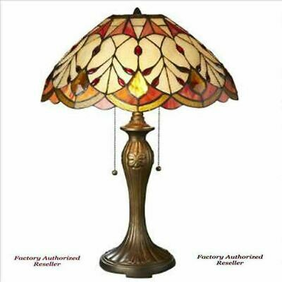 "Antiqued Tiffany-Style Flowing Buds Stained Glass 23"" Handmade Table Lamp"