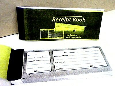 "RECEIPT BOOK WITH COUNTERFOIL app.100-NO NUMBERS/PERFORATION see picture 7""x2.5"""