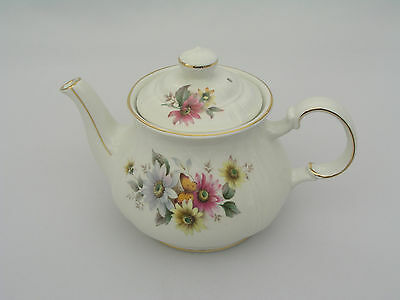 Sadler England Teapot - Pink, White Yellow Flowers - Gold Trim - Excellent Cond.