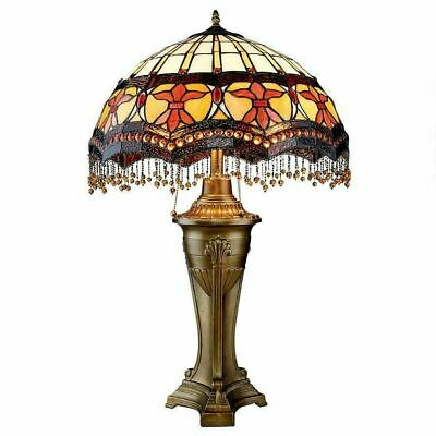 "Antiqued Victorian Parlor Tiffany-Style Stained Glass 30""  Sculpture Table Lamp"