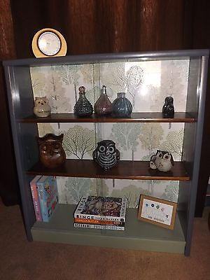 UP-CYCLED VINTAGE 1950s SOLID WOOD BOOKCASE/DISPLAY CABINET GLASS DOORS