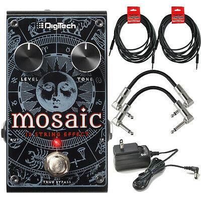 Digitech Mosaic Polyphonic 12-String Guitar Effect Pedal + Power Supply + Cables
