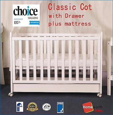 3 IN 1 CLASSIC COT WITH DRAWER AND AUSTRALIAN MADE ORGANIC MATTRESS  Bed White