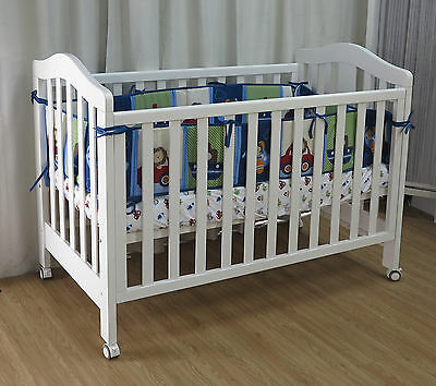 3 in 1 Classic Cot Crib Baby Bed Toddle Wheel cots Nursery Furniture White Brown