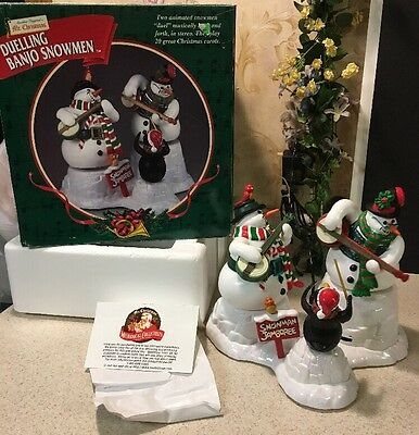 Duelling Banjo Snowmen Jamboree Mr. Christmas Mechanical Animated 1999