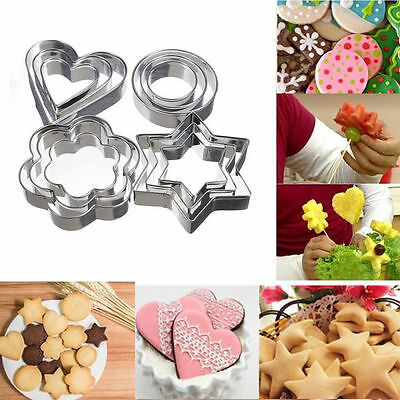 12Pcs Stainless Steel Cookie Fondant Cake Paste Mold Cutter Decor DIY Tool