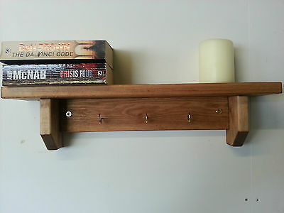 Solid Wood Hand Crafted Shelf With Key Hooks Sizes & Colours Avalable