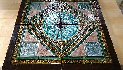 Beautiful Group Of Four Antique Vintage Majolica Tiles / Victorian Tile Panel