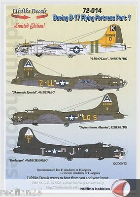 Lifelike Decals Boeing B-17 Flying Fortress Pt.1 1/72 decals