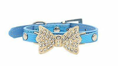 Lillypet Bling Rhinestone Pet Cat Dog Bow Tie Collar Necklace Jewelry Blue