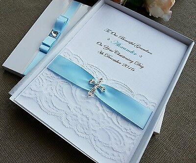 Christening Baptism First Communion Card Boxed Personalised Handmade Keepsake