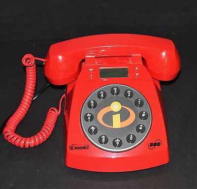 Disney's The Incredibles SBC Red Rotary-Style Phone Telephone Wired Works