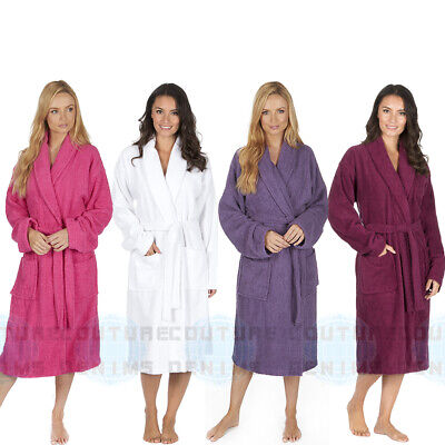 Ladies Towelling Bath Spa Robe 100% Cotton Terry Cloth Dressing Gown Soft Warm