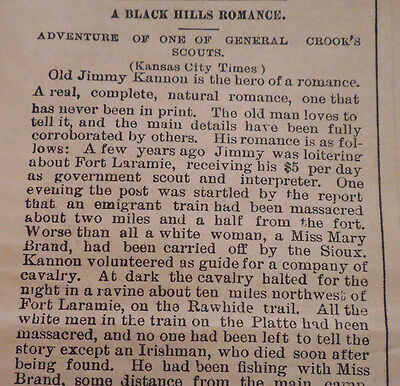 1876 Rare Newspaper ~The Black Hills ~ Sioux Indians