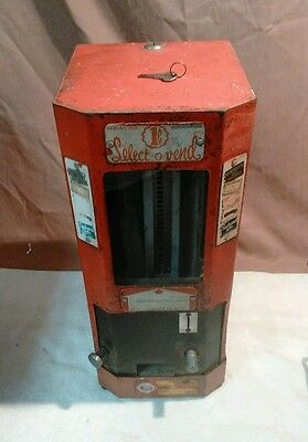 1 Cent Select-O-Vend Candy And Gum Vending Machine Serial # 6834 Works With Key