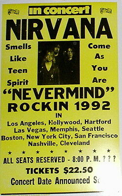 """Nirvana Concert Poster - 1992 Nevermind Tour - """"Come As You Are"""" - 14""""x22"""""""