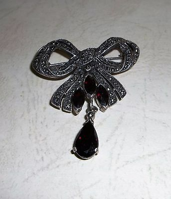 Signed Sterling Silver Marcasite Garnet Bow Pin