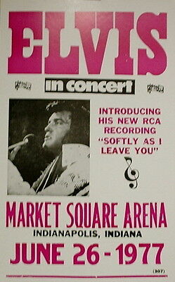 "Elvis Presley Concert Poster - 1977 Introducing ""Sofly As I Leave You"" - 14""x22"""
