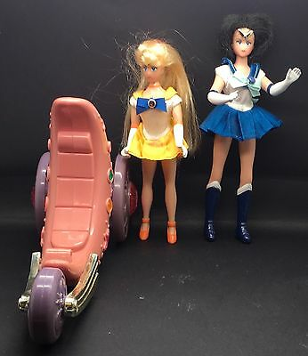 "Vtg  Bandai Sailor Moon Cycle Venus Mercury  6 "" Doll  1995 1996"