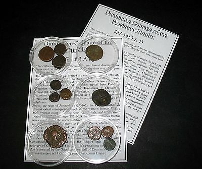Ancient Coin collection 12 Byzantine diminutive tiny fractional hoard coins