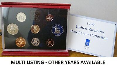 Royal Mint Proof Coin Set - Red Leather Deluxe - Pick year 1985 - 2007 Birthday