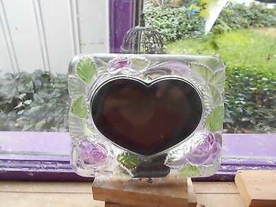 Stained  Glass Window Panel Suncatcher  Heart Picture Frame