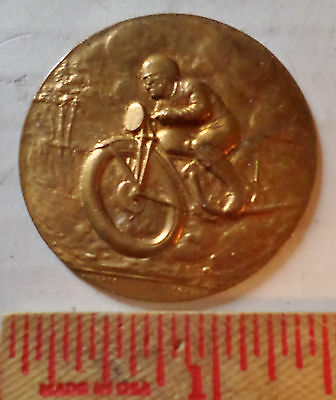 Vintage brass motorcycle medal race collectible old racing cycle coin medallion
